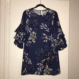 Navy Floral Print Zara Dress